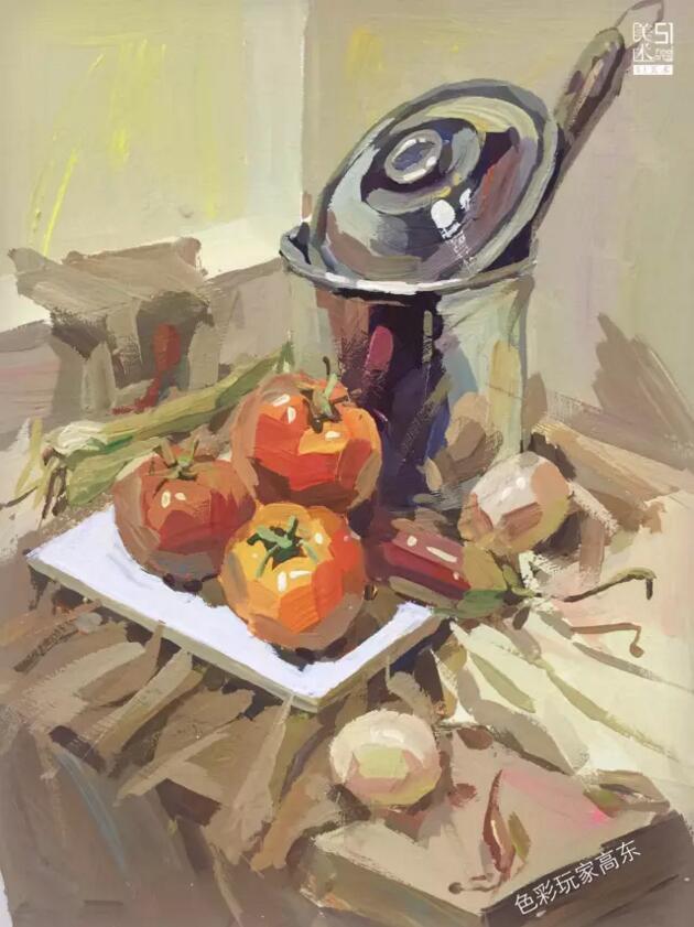 色彩静物六大画法:薄画,厚涂法,湿画法,干画法