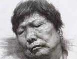 女老年素描头像