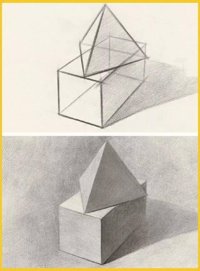 单个石膏几何体的结构要点和作画步骤!