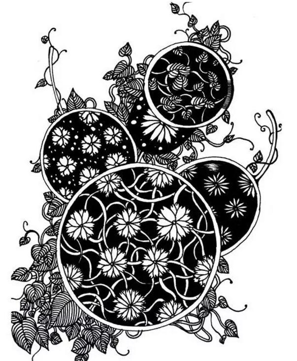 黑白手绘花图案变形