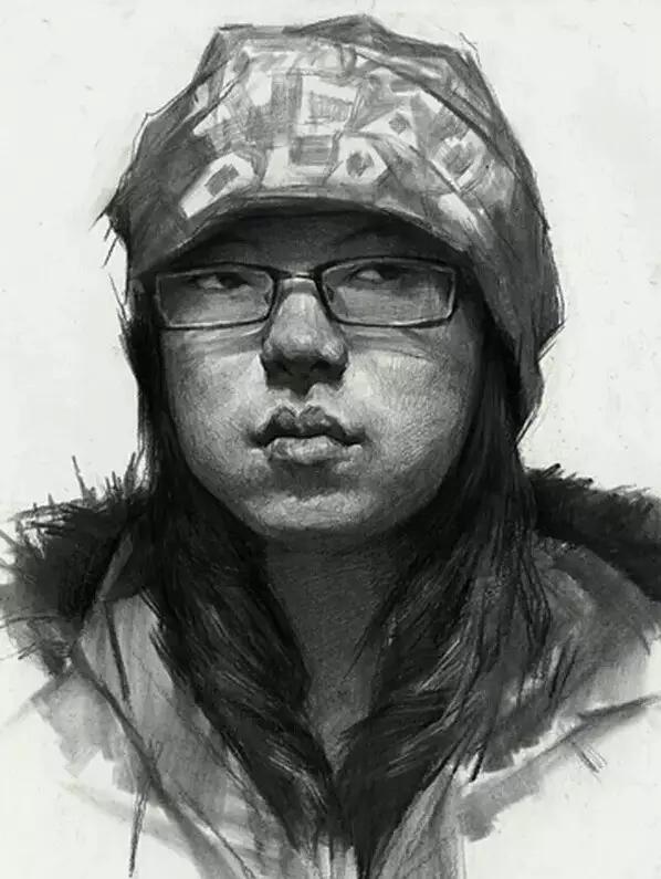 戴眼镜,戴帽子,带围巾,怎么处理好素描头像的各种配饰