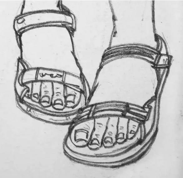 别再为速写鞋子头疼了,就照这个画