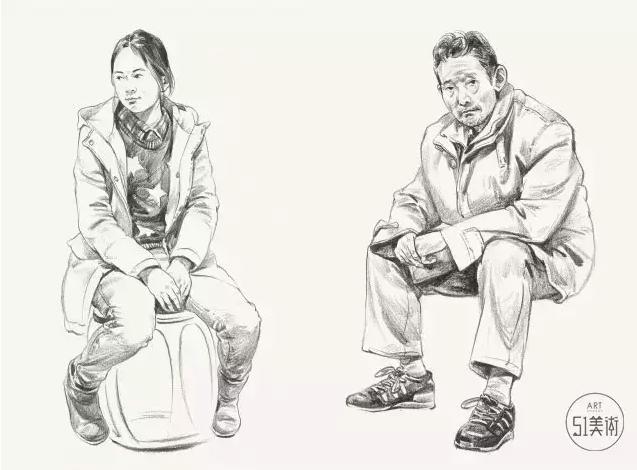 【教程】速写人物坐姿,人物比例,画面构图,细节刻画尤