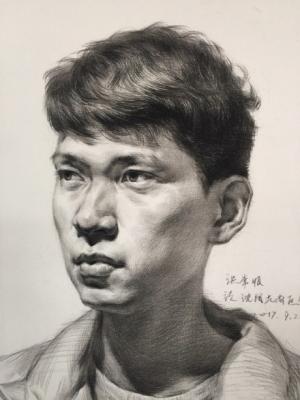 【2018美术联考必备】男青年素描头像作画步骤
