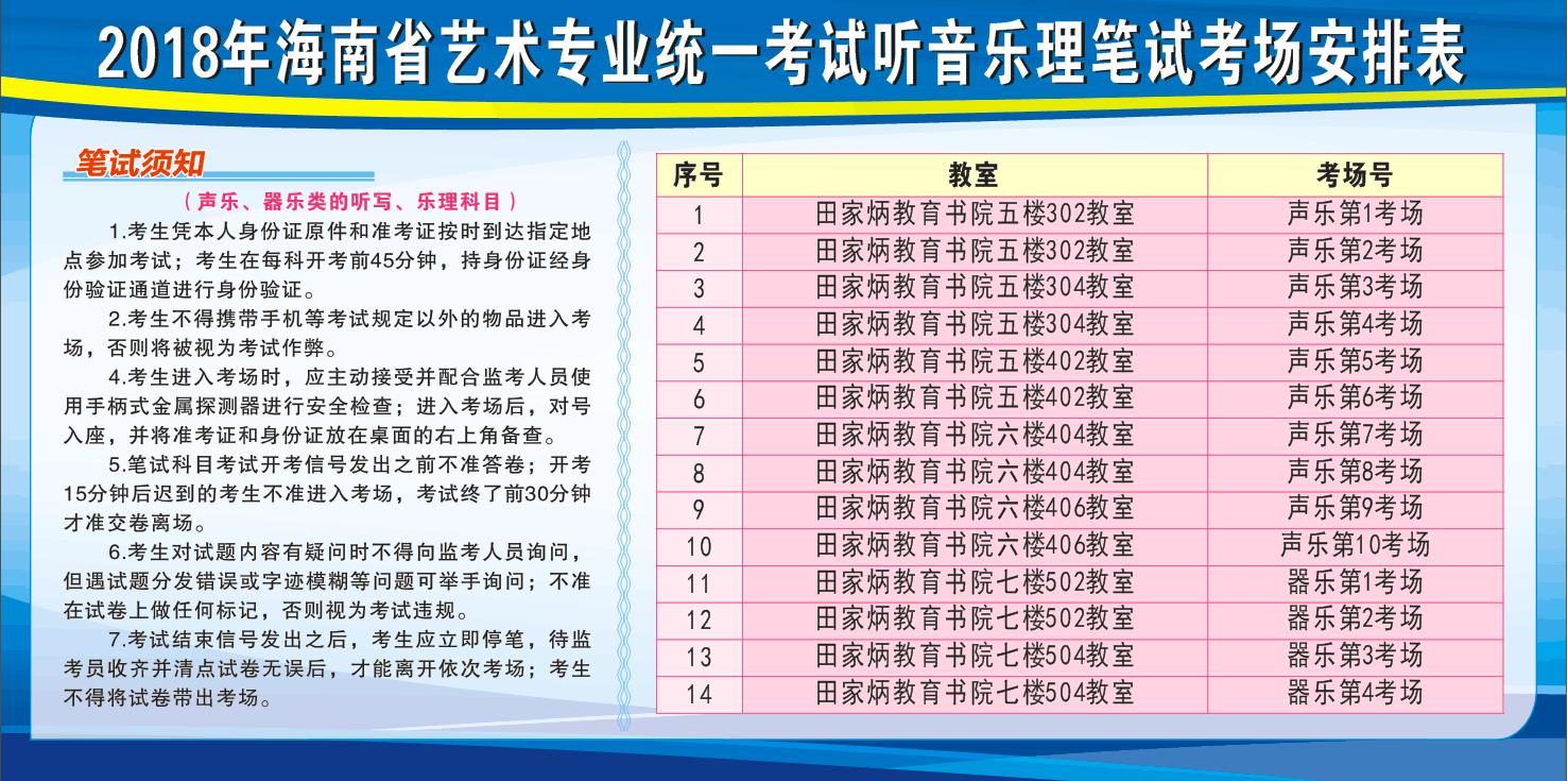 [海南省大学排名2018]2018年海南省艺术类专业考试考前公告