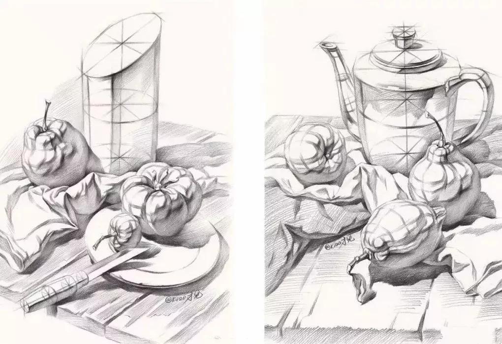 先从单个结构开始,画结构宁方勿圆,结构素描静物:水果刀,盘子,花瓶和