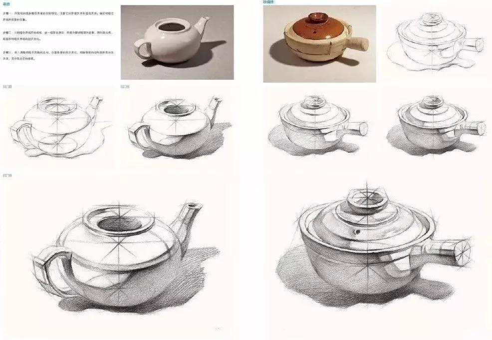 初学者练习素描静物时,先从单个结构开始,画结构宁方勿圆,结构素描