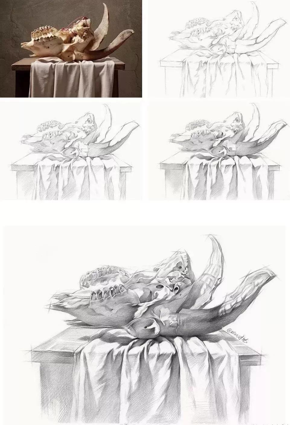 画结构宁方勿圆,结构素描静物:水果刀,盘子,花瓶和各种罐子,酒瓶等.