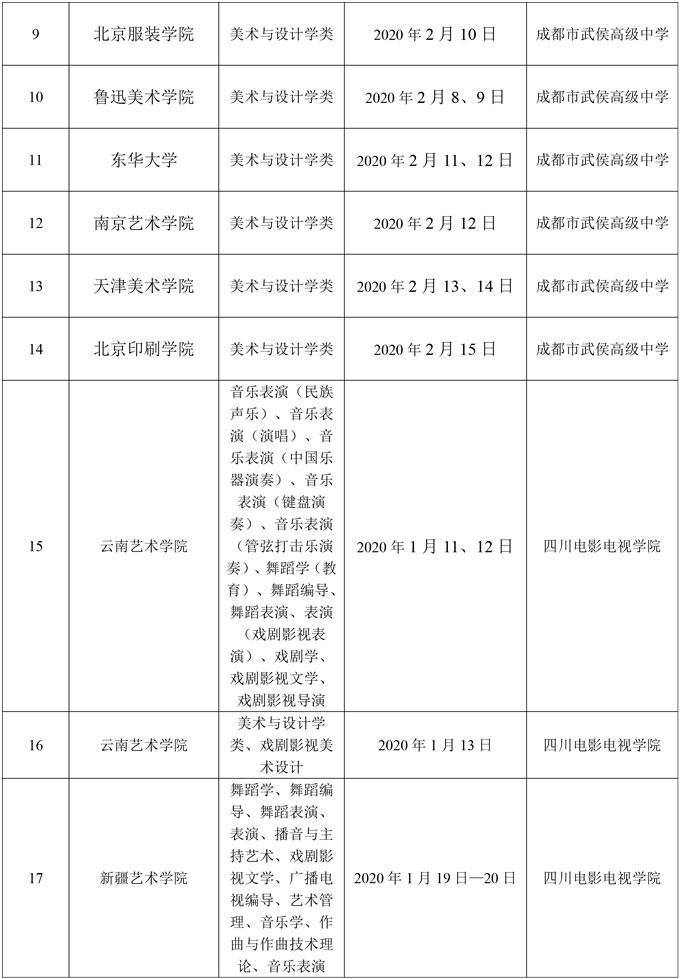 2020年省外高校在四川艺术类校考时间表