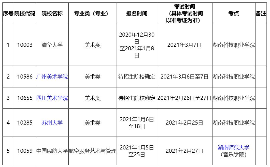 湖南省2021年外省院校艺术类专业现场校考考点及时间安排表